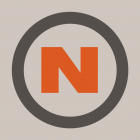 Nanoc logo: a bold red 'N' character centered within a dark grey circle, on a grey background.