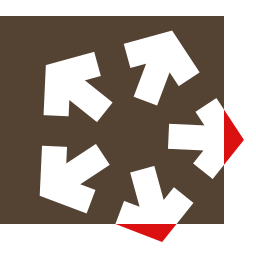 Pentandra Logo: a box with a five arrows rotating outwards from the middle, piercing two sides of the box.
